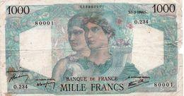 FRANCIA 1000 FRANCS 1946   P-130 CIRCULATED   SERIE 80001 - 1871-1952 Antichi Franchi Circolanti Nel XX Secolo