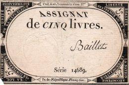 FRANCIA  ASSIGNAT 5 LIVRES 1793 P-A-76 - ...-1889 Tijdens De XIXde In Omloop