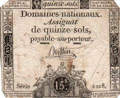 FRANCIA  ASSIGNAT 15 SOLS 1792 P-A54 - ...-1889 Tijdens De XIXde In Omloop
