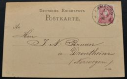 DR Nr.33 Auslandskarte Sauberer K1 HAMBURG 1. Vom 9.8.1876 Nach Norwegen (rh20) - Briefe U. Dokumente