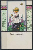 Ansichtskarte Jugendstil Künstler Handcoloriert Sommervögel Frauen H. Friedrich - Künstlerkarten
