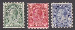 Turks & Caicos 1913  3 Values   1/2d   1d    3d  SG129, SG130, SG131     MH - Turks And Caicos