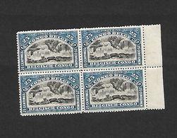 COB N° 67 25 C Bleu En Blocs De Quatre Cadre Avec Indication De Valeur Cote 18.00 € XX MNH - 1894-1923 Mols: Mint/hinged