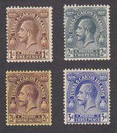 Turks & Caicos 1922    4 Values  1d, 2d, 21/2d, 3d    SG164, SG166, SG167, SG168    MH - Turks And Caicos