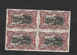 COB N° 69 50 C Brun Li Lacé En Blocs De Quatre Bilingues Cote 144.00 € XX MNH - 1894-1923 Mols: Mint/hinged