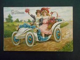 Enfants élégants Avec Panier De Roses Dans Automobile Pleine De Myosotis - Gaufrée - Série 681 - Enfants