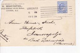 U.K. --  LETTRE  --  1906  --  R. ROSENSTIEL  --  LONDON  --  TO DARUVAR, CROATIA - Storia Postale