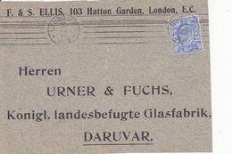 U.K. --  PARCEL LETTRE  --  1905  --  F. & S. ELLIS, 103 HATTON GARDEN; LONDON   --  TO DARUVAR, CROATIA - Storia Postale