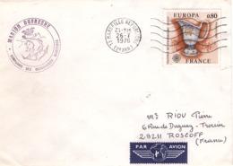 FRANCE - Lettre Par Avion - Curiosité Cachet Marseille Avec Les Chiffres Des Heures Retournés - Timbre Europa - Obl 1976 - Variedades Y Curiosidades