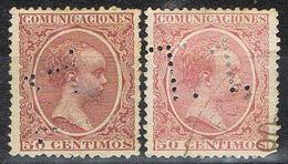 Dos Sellos TELEGRAFOS España 50 Cts Alfonso XIII, Perforado Telegrafico T1, Num 224t Y 224aT º - Telegramas