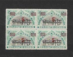 COB N° 85 5 C/ 40 C Bleu Vert En Blocs De Quatre Surcharge De Nouvelles Valeurs Rouge Ou Noir Cote 2.20 € XX MNH - 1894-1923 Mols: Mint/hinged