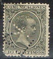 Sello TELEGRAFOS España 30 Cts Alfonso XIII, Perforado Telegrafico T2, Num 222t º - Telegramas