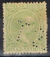 Sello TELEGRAFOS España 20 Cts Alfonso XIII, Perforado Telegrafico T2, Num 220t º - Telegramas