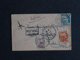 """Marque Postale """"Refusé"""" Et Manuscrite """"refusée Pour Taxe"""" Et """"rebuts"""" Sur Lettre Taxée De Vierzon à Neuvy-Pailloux 1953 - Lettres Taxées"""