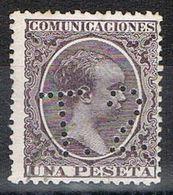 Sello TELEGRAFOS España 1 Pta Alfonso XIII, Perforado Telegrafico T2, Num 226at º - Telegramas