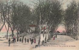CPA-30-VALLABREGUES-Bords Du Rhône Et Vue Prise De La Calade-Animée - Otros Municipios