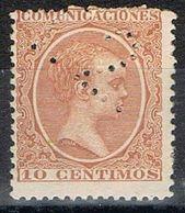 Sello TELEGRAFOS España 10 Cts Alfonso XIII, Perforado Telegrafico T2, Num 217t º - Telegramas