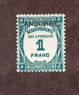 Andorre Taxe N°12 N* TB  Cote 125 Euros !!! - Unused Stamps