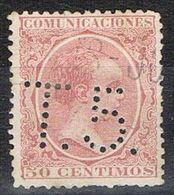 Sello TELEGRAFOS España 50 Cts Alfonso XIII, Perforado Telegrafico T5, Num 224t º - Telegramas