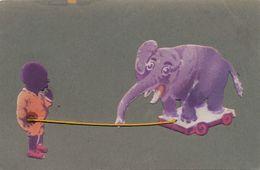 Hand Made Black Boy Playing With Elephant  Velvet Paper . String . Elephant Velour Et Cordelette - Elefantes