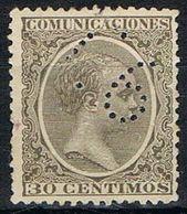 Sello TELEGRAFOS España 30 Cts Alfonso XIII, Perforado Telegrafico T6, Num 222t º - Telegramas