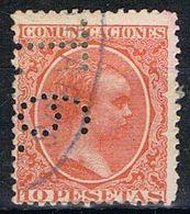 Sello TELEGRAFOS España 10 Pts Bermellon Osc. Alfonso XIII, Perforado Telegrafico T6, Num 228at º - Telegramas