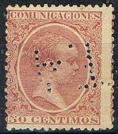 Sello TELEGRAFOS España 50 Cts Alfonso XIII, Perforado Telegrafico T4, Num 224t º - Telegramas