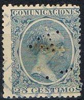 Sello TELEGRAFOS España 25 Cts Alfonso XIII, Perforado Telegrafico T4, Num 221t º - Telegramas