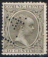 Sello TELEGRAFOS España 30 Cts Alfonso XIII, Perforado Telegrafico T4, Num 222t º - Telegrafen