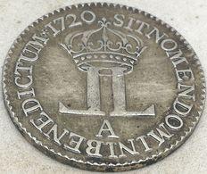 RÉPLICA Moneda 1720. ¼ Ecu. Rey Luis XV. Paris, Francia Y Navarra - 1715-1774 Louis XV Le Bien-Aimé