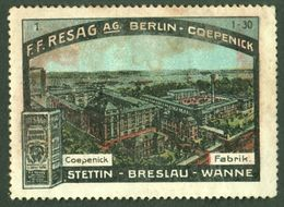 "Stettin Breslau Wanne-Eickel Berlin-Köpenick 1913 "" F.F.Resag AG Roggenkaffee "" Vignette Cinderella Reklamemarke - Vignetten (Erinnophilie)"