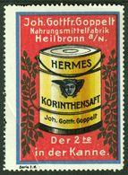 "Heilbronn Goppelt Nahrungsmittelfabrik 1913 "" Bild: Hermes Korinthen-Saft "" Vignette Cinderella Reklamemarke - Vignetten (Erinnophilie)"