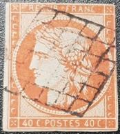 Cérès N° 5b (Orange Foncé) Avec Oblitération Grille De 1849  état Bien - 1849-1850 Ceres