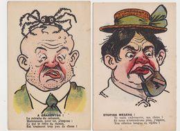 2 Cpa Humoristiques Dessinées  / A Charenton ( Homme Et Araignée Sur La Tête ) / Stupide Mégère - Humor