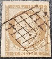 Cérès N° 1a (Bistre Brun) Avec Oblitération Grille De 1849, Signé SCHELLER  TTB - 1849-1850 Ceres