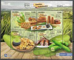COLOMBIA, 2019, MNH, UPAEP, FOOD, TRADITIONAL COLOMBIAN FOOD, SUGAR CANE, BANANA CHIPS, SHEETLET - Food