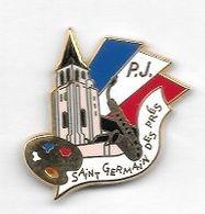 Pin's  Ville, ARTHUS  BERTRAND, Musique, Peinture, Police  P.J, S T  GERMAIN  DES  PRES  ( 81 ) - Arthus Bertrand