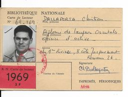 CARTE BIBLIOTHEQUE NATIONALE.....1969..MR  DALLAPORTA.....CARTE DE LECTEUR.................... - Sin Clasificación