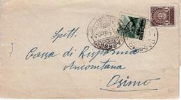 1946 LETTERA CASSINO FROSINONE A OSIMO AFFR. EMERGENZA DI £. 2 CON RECAPITO AUTORIZZATO IN TARIFFA SINDACI - 1946-60: Marcofilie