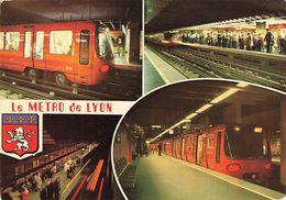 Metro De Lyon CPM 4 Vues En Service Depuis Le 2 Mai 1978 - Métro