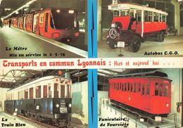 Metro De Lyon CPM 4 Vues En Service Depuis Le 2 Mai 1978 Transports Lyonnais Autobus Train Bleu Funiculaire De Fourviere - Métro