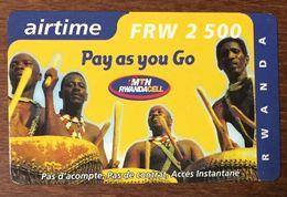 RWANDA MTN RWANDACELL FRW 2500 RECHARGE GSM EXP LE 1/11/2002 CARTE PRÉPAYÉE PAS TÉLÉCARTE PHONECARD - Rwanda