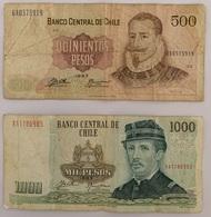 2 BILLETS DU CHILI: 500 ET 1000 PESOS. 1993 - Chili