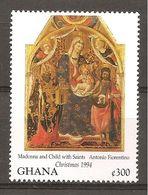 GHANA - 1994 Natale ANTONIO FIORENTINO Madonna Con Bambino E S. GIOVANNI BATTISTA E S. ZENOBI Nuovo** MNH - Religious