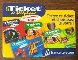 TESTEZ CE TICKET FRANCE TELECOM TICKET TÉLÉPHONE 3 MN EXP 31/08/2001 CARTE TÉLÉPHONIQUE PREPAYÉE PREPAID TELECARTE - Frankreich