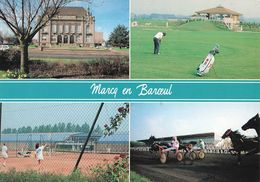 59 Marcq En Baroeul Carte 4 Vues Hippodrome Courses Trot Attelé Sulky Terrain Golf Tennis Hotel De Ville - Marcq En Baroeul