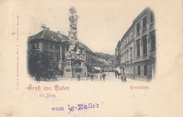 AUSTRIA - Gruss Aus Baden Bei WIen 1898 - Hauptplatz - Baden Bei Wien