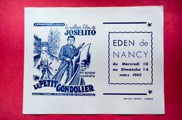 Buvard CINÉMA Le Petit GONDOLIER, Film De Joselito, Eden De Nancy, Italie, Venise, Blanc - Buvards, Protège-cahiers Illustrés