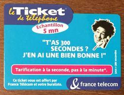 300 SECONDES FRANCE TELECOM TICKET TELEPHONE 5 MN PREPAYÉE PREPAID CARTE TÉLÉPHONIQUE TELECARTE - Frankreich