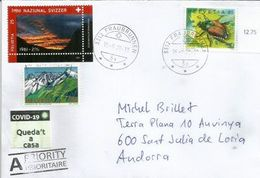 COVID19/CORONAVIRUS. Stamp National Anthem Of Switzerland, Letter Sent To ANDORRA, With Local Prevention Label STAY HOME - Switzerland
